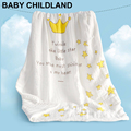 115*115cm Newborn Infant Cotton Muslin Baby Swaddle Blanket Towel Crown Star Cartoon Breathable Muslin Blankets Multifunctional