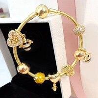 Роскошные и блестящей золотой Цвет пчелы Seires творческий с шармом сердца Европейский Стиль 925 пробы серебряный браслет