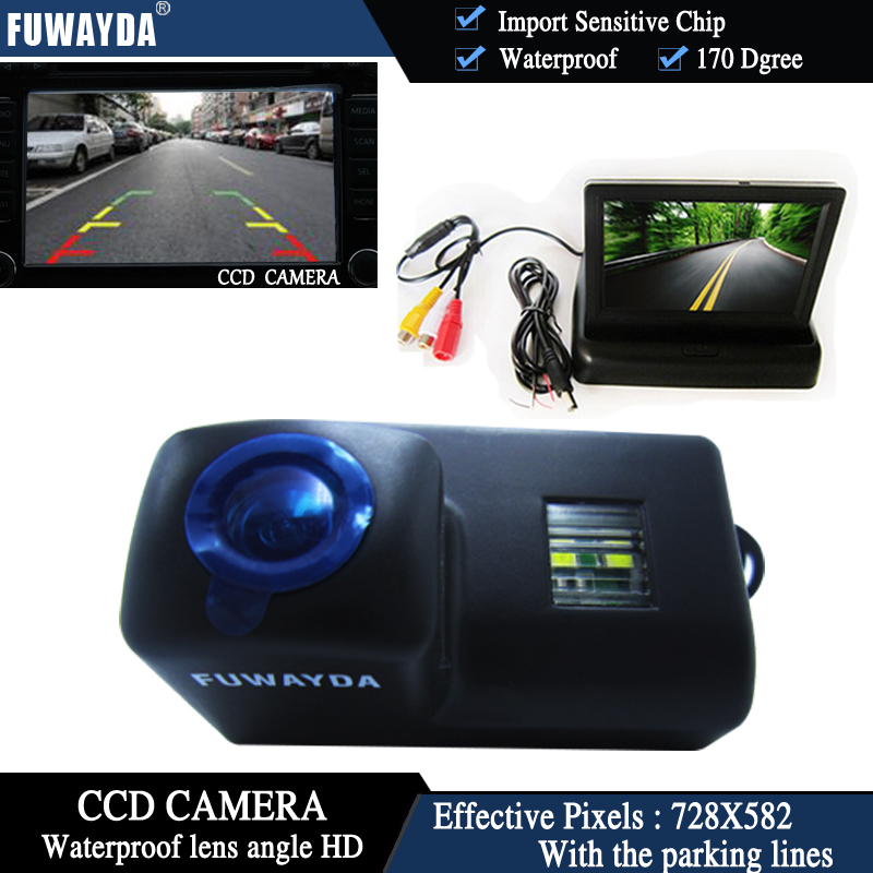 FUWAYDA CCD Chip Car Rear View Camera for Peugeot 206 207 306 307 308 406 407 5008 Partner Tepee+4.3 Inch foldable LCD Monitor foldable car rear monitor color screen black shell wire car rear view camera 4 led for peugeot 206 207 407 307 sedan 307sm