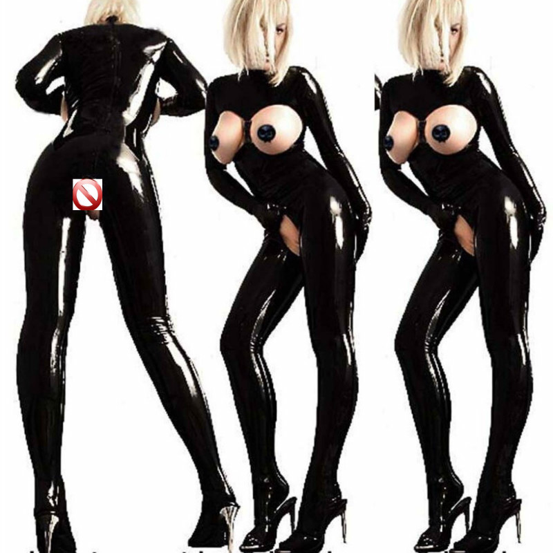 Buy Sexy Lingerie Open Bra Latex Catsuit Crotchless Open Crotch Erotic Fetish Catsuit Faux PVC Leather Sexy Cosplay Suit Costumes