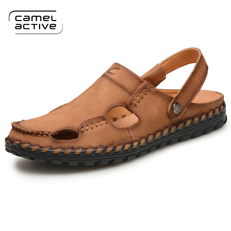 Camel Active Hot Sale New Fashion Summer Leisure Beach Men Shoes High Quality Genuine Leather Sandals Big Yards Men's Sandals anmairon shallow leisure striped sandals women flats shoes new big size34 43 pu free shipping fashion hot sale platform sandals