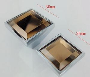 Image 2 - 5colors square Lens haplopore Diamond crystal Alloy Door Drawer Cabinet Wardrobe Pull Handle Knobs Drop Shipping Wholesale