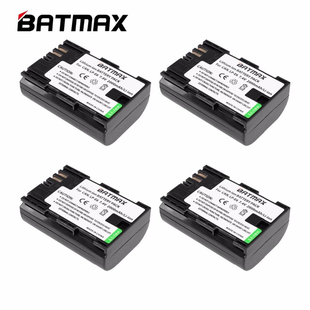 4 Pcs/lots High Capacity LP-E6 LP E6 Batteries LP E6 bateria for Canon EOS 5D 5D2 5DS R Mark II 2 III 6D 60D 60Da 7D 7D2 70D 80D