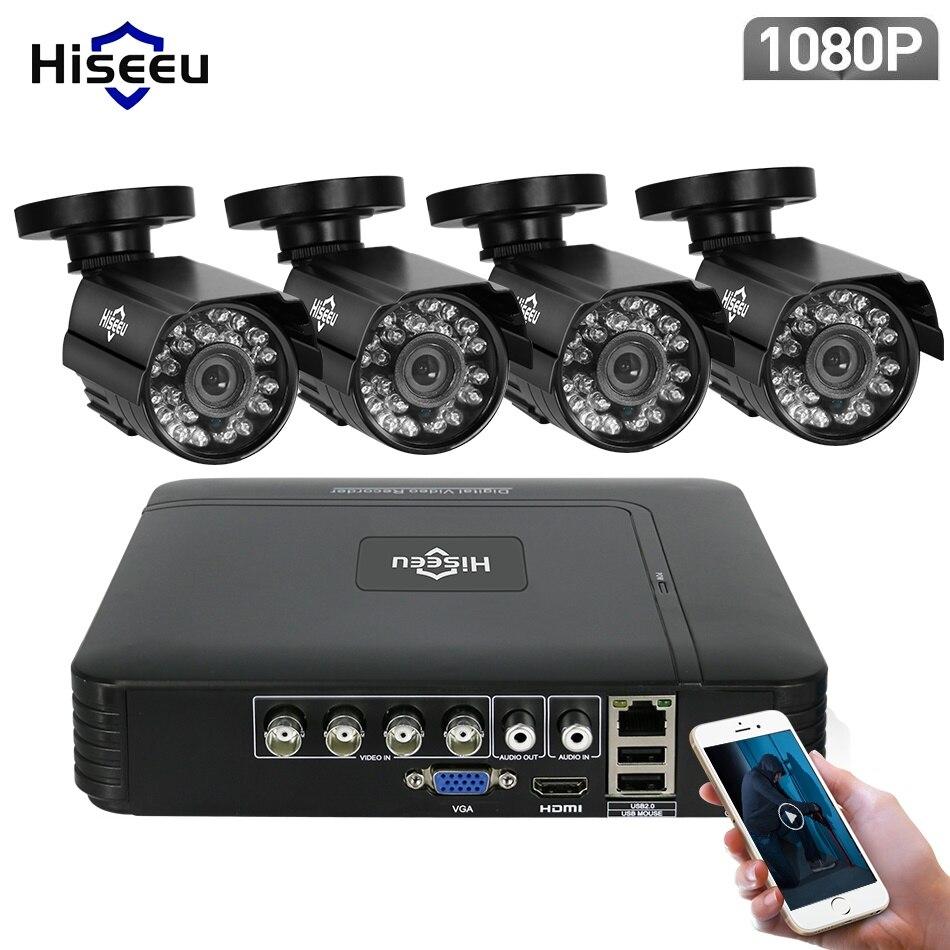 Hiseeu 4CH CCTV Sistema 1080 p HDMI Opção 4 pcs 1080 p 2.0 MP AHD CCTV DVR Segurança Ao Ar Livre IR câmera AHD Kit Câmera de Vigilância