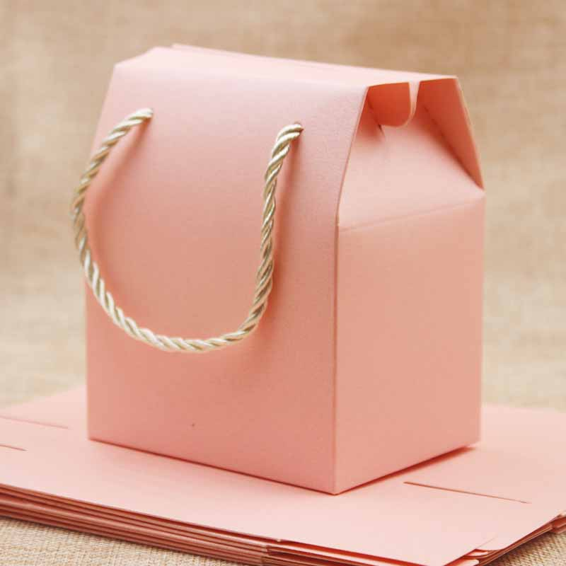 Pink/purple/beige Gift Bags with Handles cardboard Candy Boxes Wedding Marriage Beautiful Gift Wrap box with handle string 20pcs Бюстгальтер