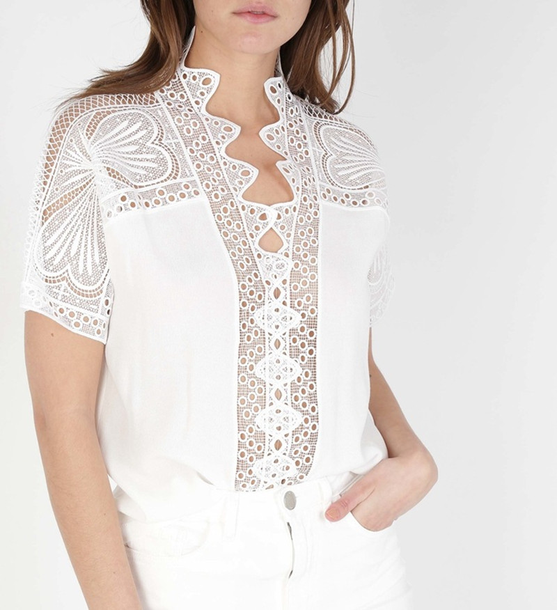 2019 New Women White Sweet Lace Blouse Short Sleeve V Neck Top