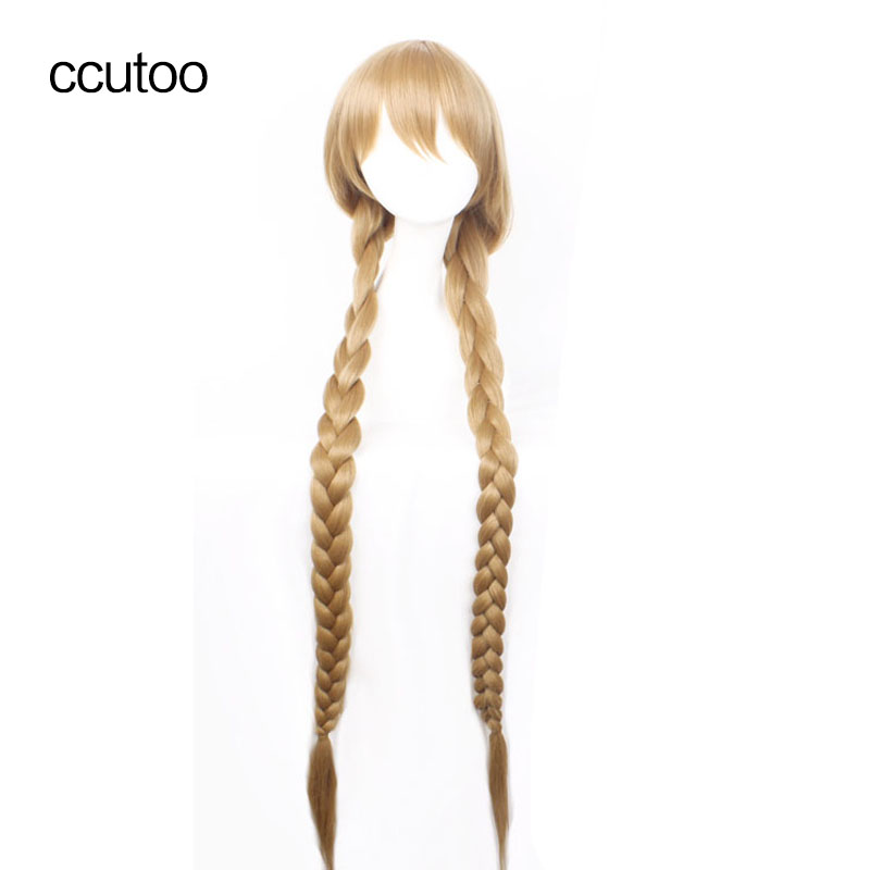 ccutoo The honey dew 120cm Blonde Long Braid Straight High Temperature Fiber Synthetic Hair Party Cosplay Costume Wigs