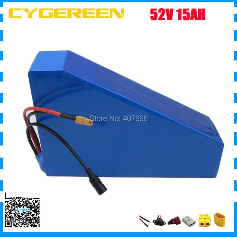 51,8 В 15AH литиевый аккумулятор 52 В 15AH треугольник батарея использование 2200 мАч ячейки 15A BMS для 52 В Ebike с Бесплатная доставка 2A Зарядное устройс