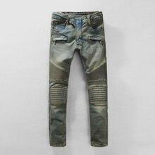 Мужская Strech ripped байкерских джинсы тощий голубой западной дизайнер бренда хип-хоп уличная swag брюки