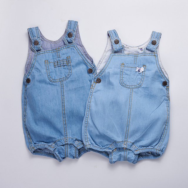 Corpo Do Bebê Terno do bebê roupas das meninas 2017 Verão denim Bobo escolhe meninos Macacão sem mangas Macacões Recém-nascidos para vestuário infantil
