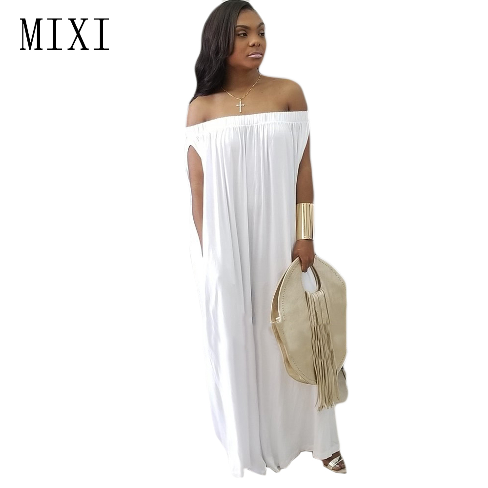 MIXI 2018 Summer Women Loose Jumpsuits White Off Shoulder Backless Elegant Wide Leg Jump ...