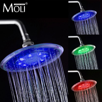 Led round shower head 8 inch rainfall shower head water flow 3 color head shower chuveiro crane