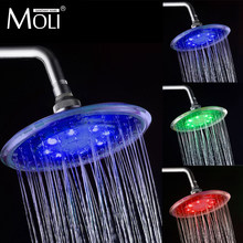 Led round shower head 8 inch rainfall shower head water flow 3 color head shower chuveiro crane(China)