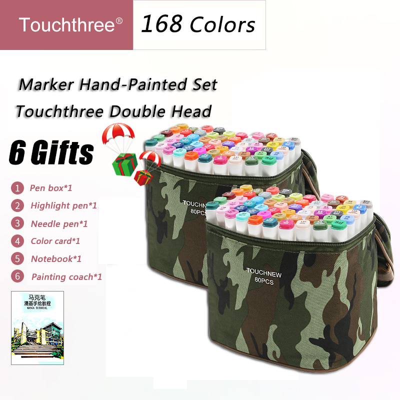 Touchthree 168 Colors Markers Set Copic Alcohol Based Double Headed Dual Brush Markers Manga Drawing Pens Art Supplies Markers alcohol based markers animation manga drawing pen set manga dual headed design pens art sketching markers