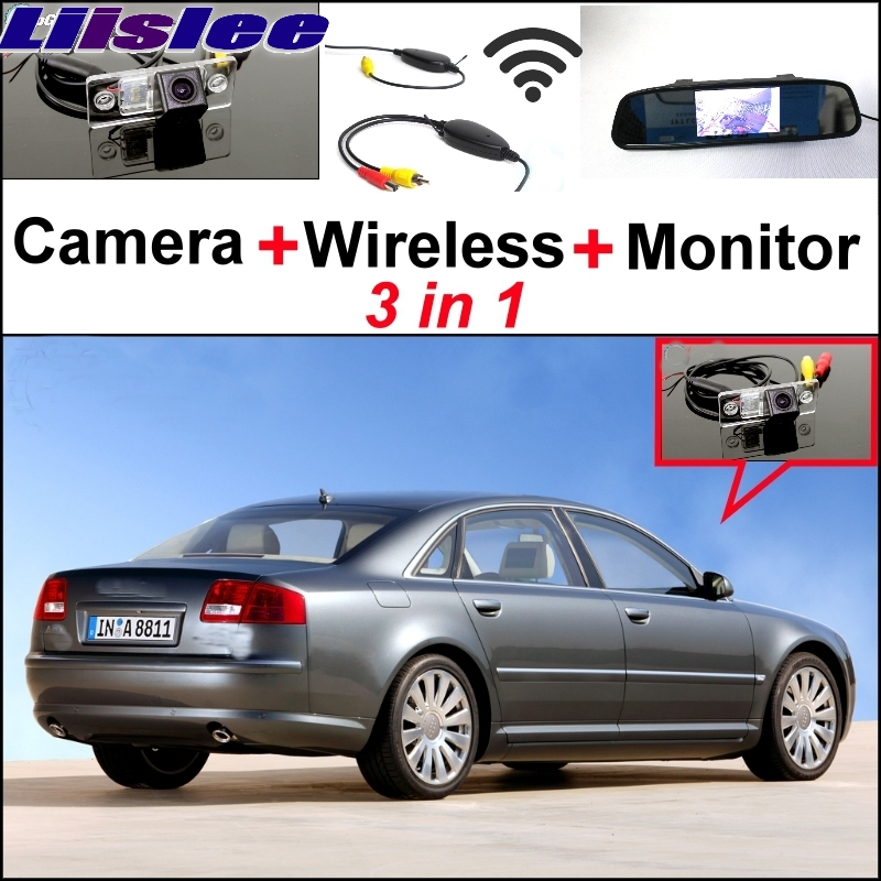 Liislee 3 in1 Special Rear View Wifi Camera Wireless Receiver + Mirror Monitor Parking System For Audi A8 A8L S8 D3 4E 2002~2007 2 front air suspension shock strut for audi a8 d3 4e 2002 2010 4e0616039ah 4e4616040e 4e0616040af 4e4616039d 4e4616040d
