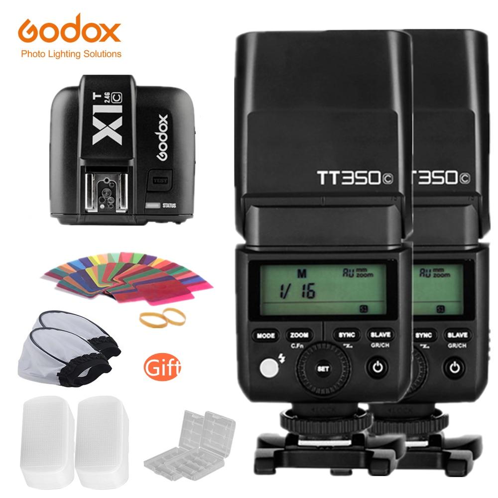 Godox 2x TT350C Mini Flash TTL HSS 1 / 8000s 2.4G wireless with X1T-C 2.4G Wireless Flash Trigger Transmitter for CanonGodox 2x TT350C Mini Flash TTL HSS 1 / 8000s 2.4G wireless with X1T-C 2.4G Wireless Flash Trigger Transmitter for Canon