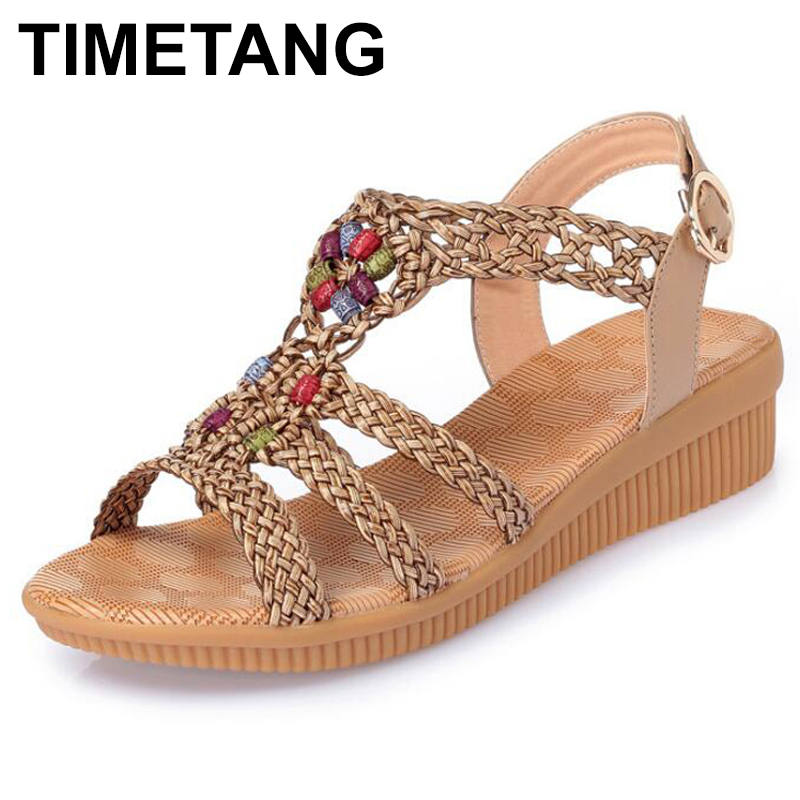 TIMETANG 2019Ethnic Women sandals summer woven sandals breathable women wedge sandals zapatos mujer size 35-42E460