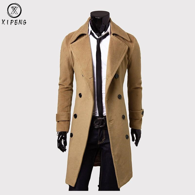 Long Wool Coat Men 2018 High Quality Men   Trench   Coat Winter Wool Blends Pea Coat Jacket Slim Fit Mens Overcoat Manteau Homme 3XL