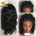 Sin cola llena del cordón pelucas del pelo humano onda del cuerpo del frente del cordón pelucas para mujeres negro Brasileño virginal ondulado del pelo humano pelucas llenas del cordón