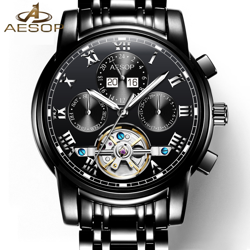 New tourbillon watch men black Stainless steel Automatic mechanical Sapphire waterproof multifunction watch relogio masculino