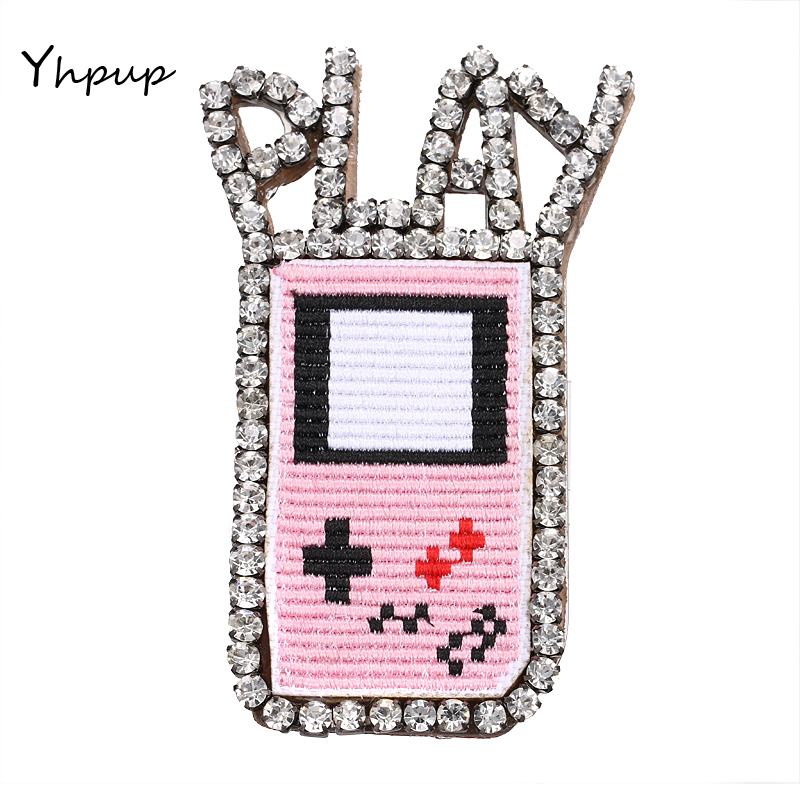 Yhpup Game Play Pink Embroidery Genuine Leather Long Brooches Pin Luxury Charms Rhinestone Geometric Clothes Jewelry Accessories