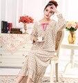 La primavera y el otoño de las mujeres 100% de manga larga cuello de encaje de algodón suelta más la ropa de dormir camisón largo AW319