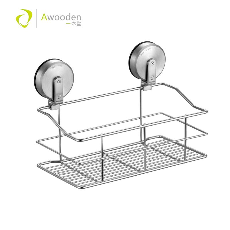 Awooden Suction Cup Bathroom Shower Caddy No Damage Super Bath Shelf Storage Combo Organizer Brushed Stainless