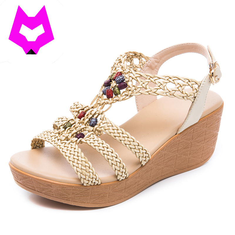 Wolf Who Summer wedges Sandals Ladies Bohemia Beach Shoes Gladiator weave Women Shoes Sandals platform Zapatos Mujer Sandalias phyanic 2017 gladiator sandals gold silver shoes woman summer platform wedges glitters creepers casual women shoes phy3323