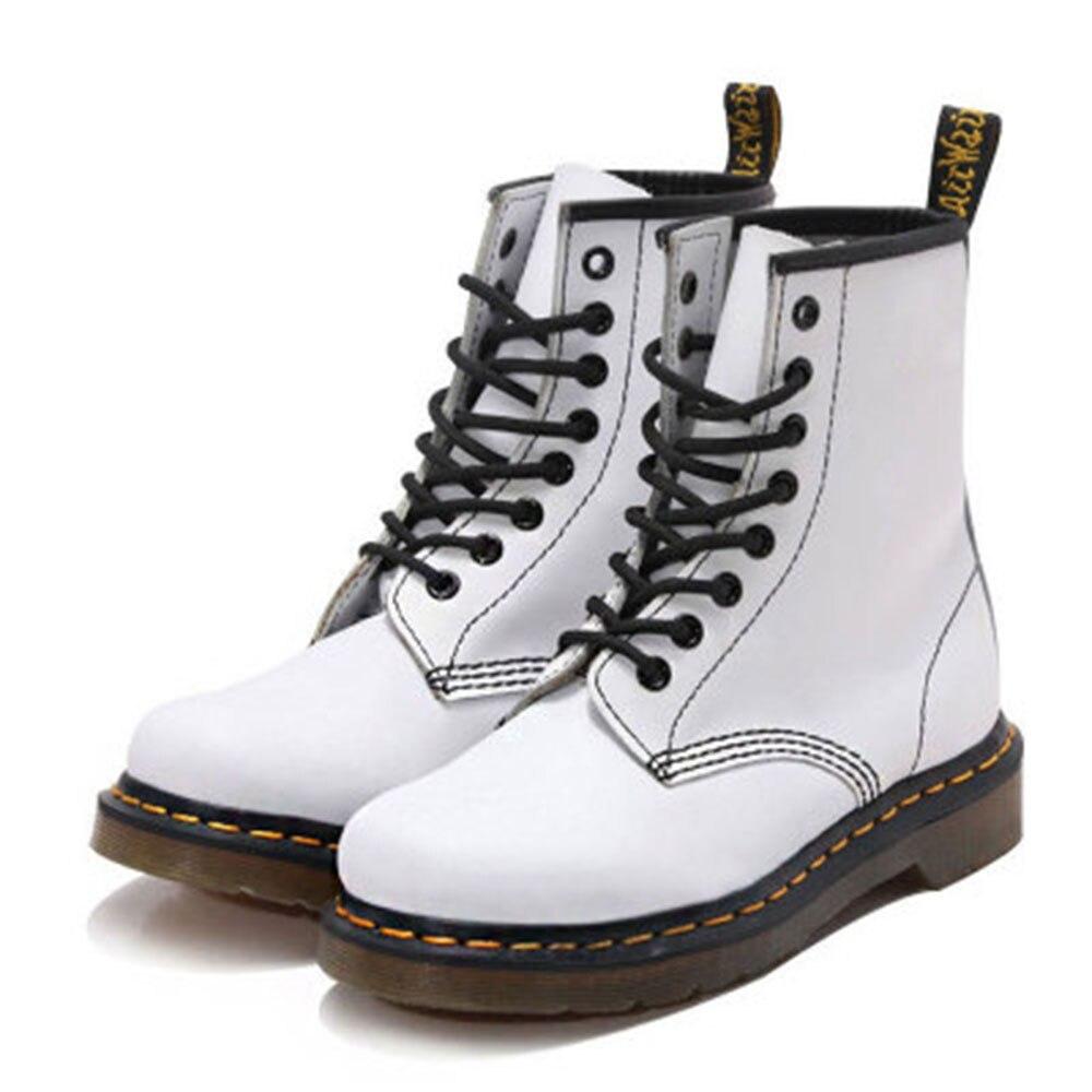 Botas Plana Genuino Coser Suave Blanco Cuero White Zapatos Capa De Moda Encaje Inglés Superior Martin EPzWnHOZq