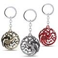 MS JÓIAS Presentes Presentes da Jóia Filme 3D Game Of Thrones Casa Targaryen Keychain Uma Canção de Gelo e Fogo de Metal Chave Anéis Chaveiro