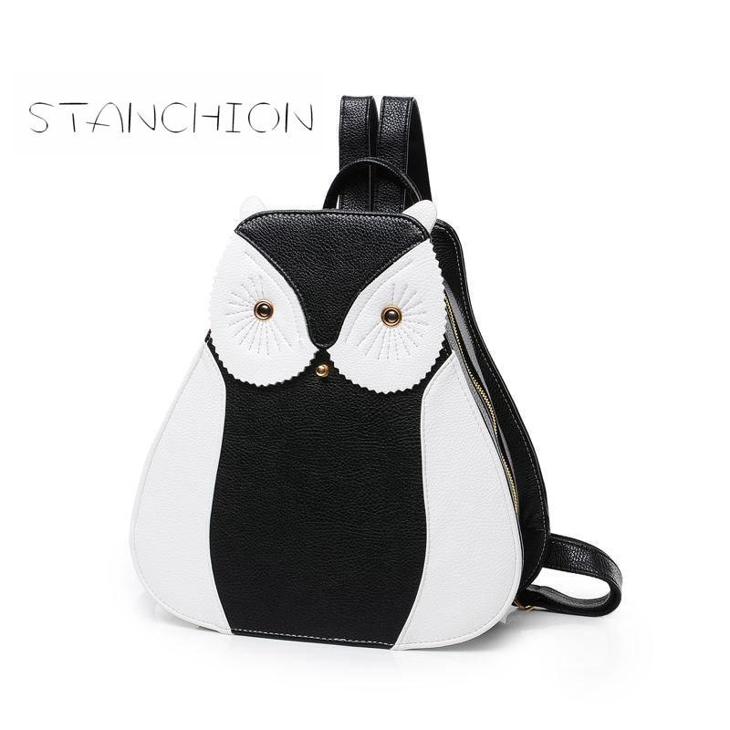Backpack Faux Leather Women Daily Zipper Silt Pocket Vintage Multifunction Ladies Rucksack Owl Shoulder Bag