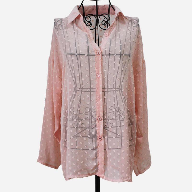 Kadın bluzlar Polka Dot uzun gömlek üst Turn Down yaka tek göğüslü kadın bluz 2020 ilkbahar yaz bayan rahat gevşek üstleri