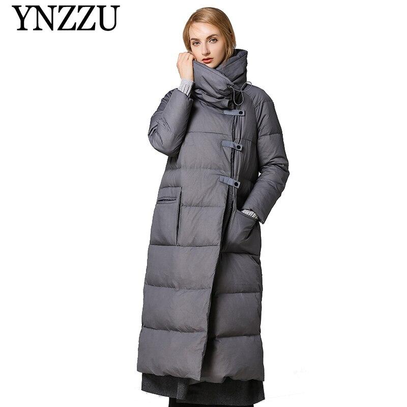 YNZZU 2019 Oversize 90% White Duck Down Coat Winter Solid Thick Warm Women's X-Long Down Jacket Pocket Loose Female Down YO871