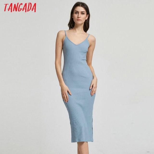f96a80256b8 Tangada Sexy moulante robe D été Vintage Tricot Extensible Midi robe tunique  Femmes sans manches