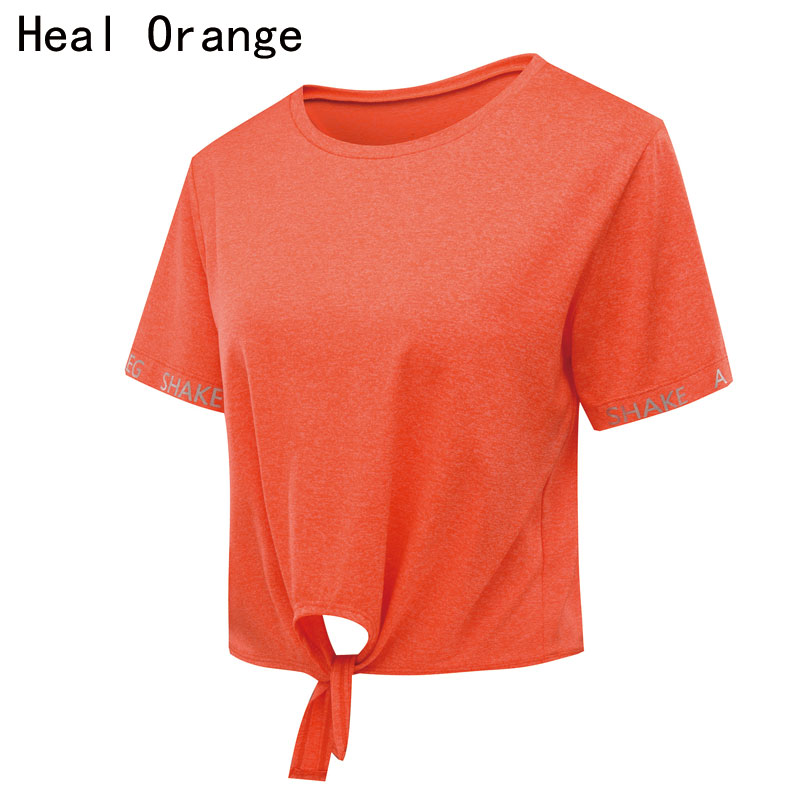 HEAL ORANGE Quick Dry O-Neck Short Sleeve Tie Solid Women Fitness Shirt Sport Top Fitness Women Running T Shirt Womens Yoga Tops albreda yoga shirt women gym sports fitness women running clothes for women solid long sleeve spring autumn base shirt fitness