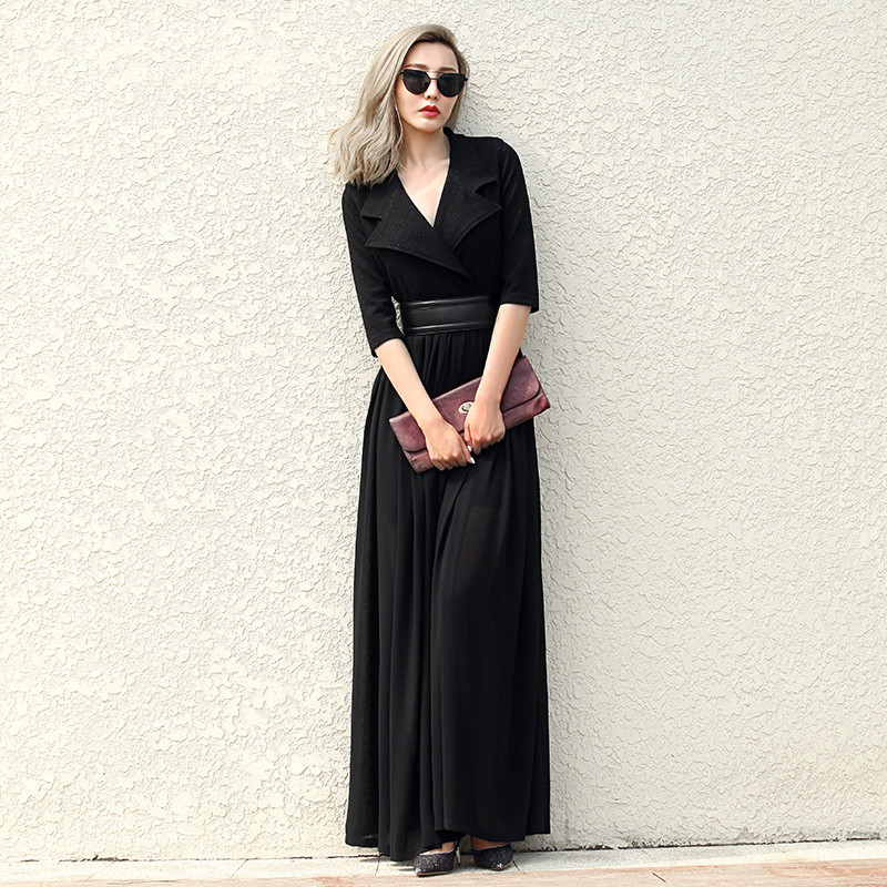 Vintage High Waist Dress 2016 Autumn Fashion Suit Collar Long Sleeve Patchwork Slim Woman Dress Solid Color Long Knitted Dresses