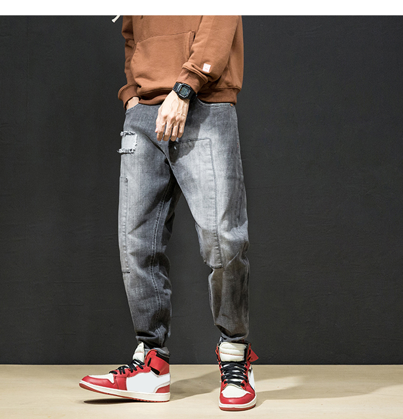 KSTUN Jeans Men Japan Harem Pants Ripped Patched Hip hop Joggers Distressed Biker Jeans Grey Stretch Casual Denim Trousers Boys 20