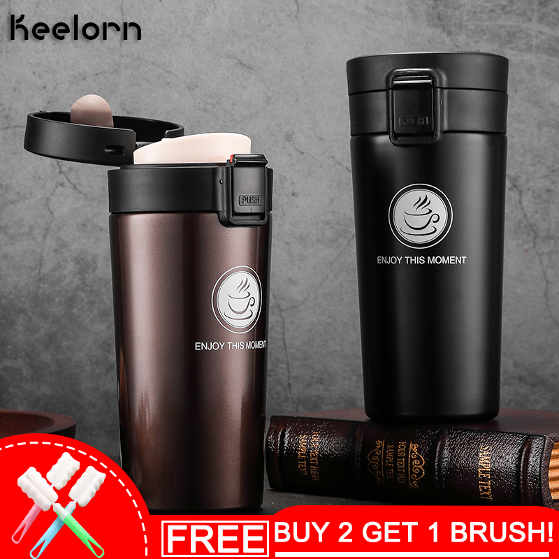Keelorn Hot Sale Double Wall Stainless Steel 500ml Coffee Vacuum Cups Mugs Thermal Bottle  Thermocup Fashion Vacuum Flask Cups
