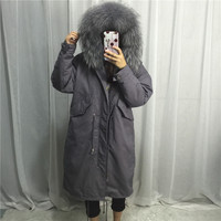 Real Racoon fur parkas mujer 2018 New Loose Women Hooded Down Long Jacket Big Real Fur Collar Padded Winter Jacket Coat Female
