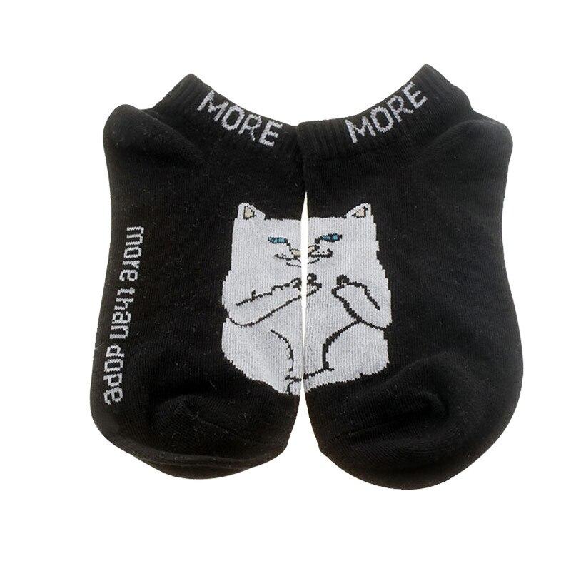 Весенне осенние дешевые спортивные хлопковые носки с рисунком кота