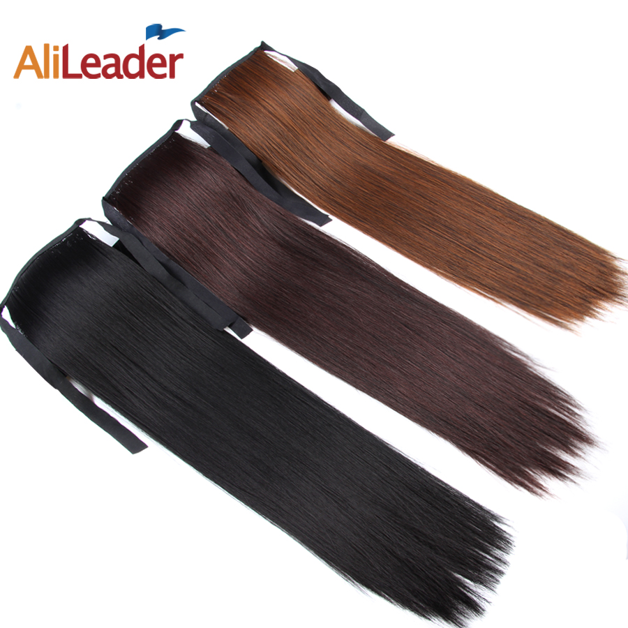Alileader False Hair Tress Clip In Ponytail Blonde Brown White Black Ponytail Hair Extension Fake Pony Tail 18 Synthetic Hair