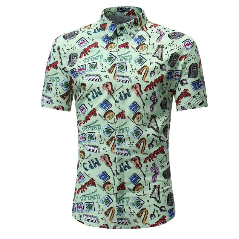 Hawaiian Printed Beach Shirts Short Sleeve