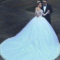 Свадебное платье 2018 Винтаж открытое кружевное платье для свадьбы аппликации с длинным рукавом принцессы трапециевидной формы свадебные пл