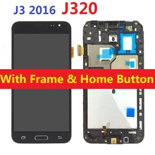 For Samsung Galaxy J3 2016 J320F J320F/DS J320H/DS J320FN J320M LCD Display Touch Screen Digitizer Sensor with Frame Home Button смартфон samsung galaxy j3 2016 ds black sm j320f
