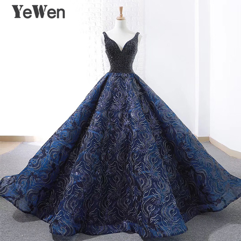 Sexy Royal Blue Long Evening Dress 2018 New Arrival Court Train Beaded Lace Christmas Special Occasion Prom Gowns Custom Made