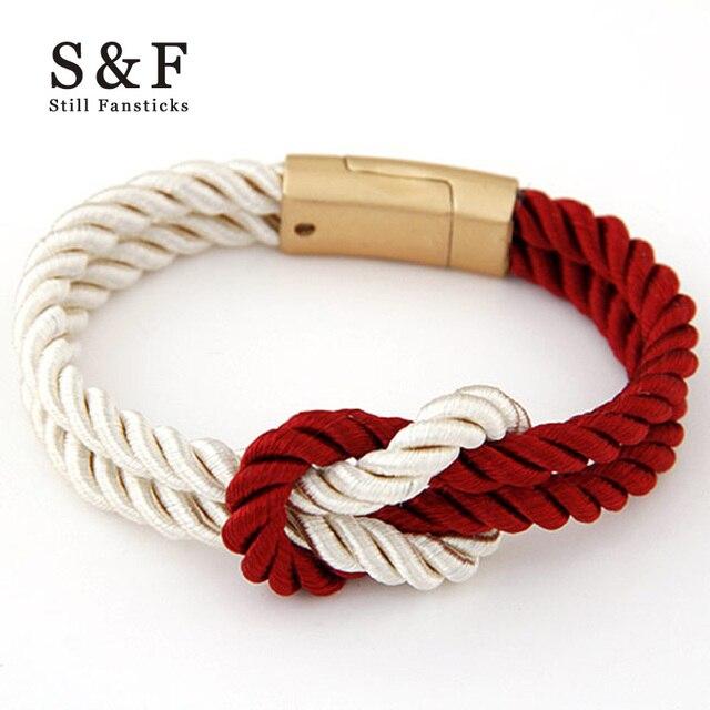 New Magnet Bracelet Braided Nylon Rope Fashion Man Strand Bracelets For Women Handmade Bangle 2017