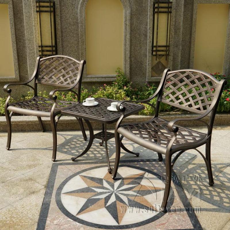 3 pièce coulée en aluminium durable en plein air chaise et table de ...