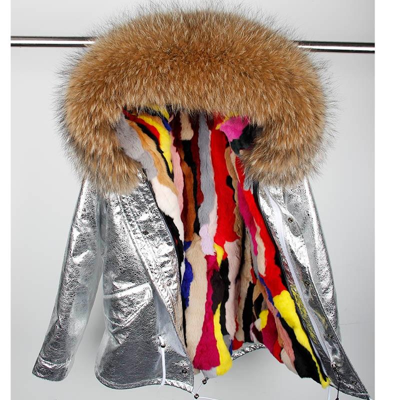 Rabbit fur Lined parka Natural Fur coat Silver pu coat real fur coat winter jacket women