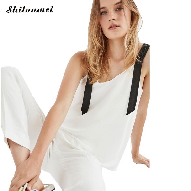 2017 Patchwork backless Women Blouses Off Shoulder Loose Spaghetti Strap Sleeveless White font b Women s