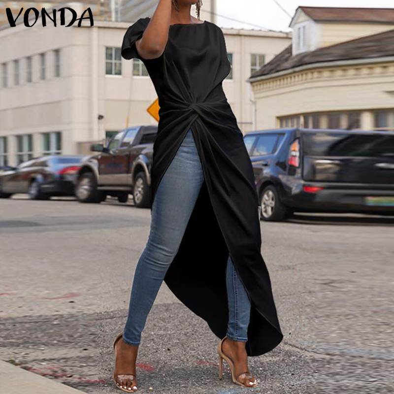VONDA Women Asymmetrical Blouse 2019 Summer Tops Casual Loose Hem Split Long Party Shirts Office Ladies Tunic Plus Size Blusas